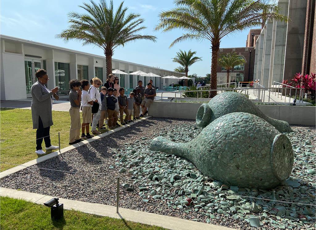 Children learning about Jean Shin's Celadon Landscape (2015) at Sarasota Art Museum